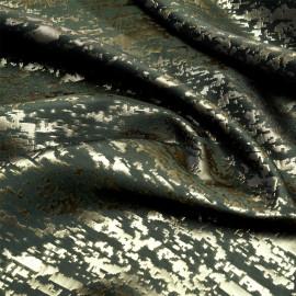 Tissu jacquard camouflage kaki et or x 10 CM