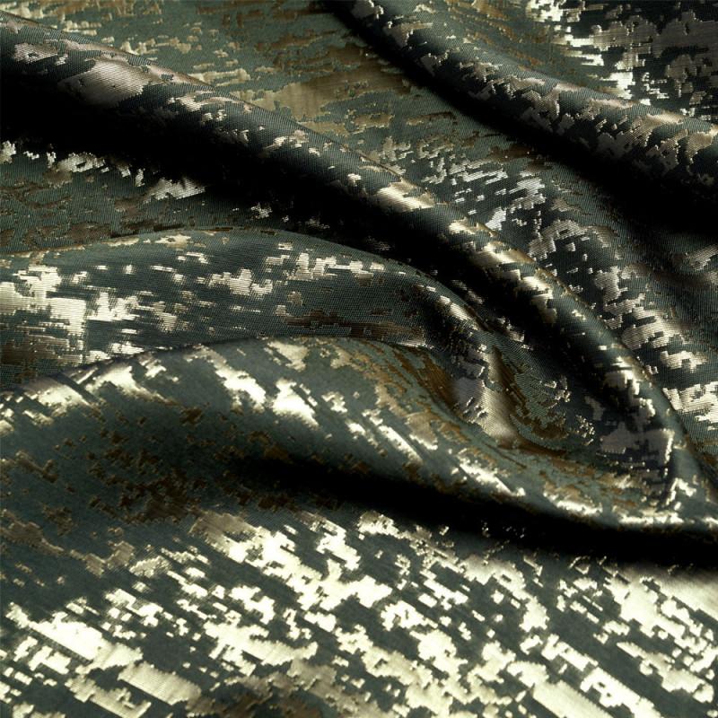 Tissu jacquard camouflage kaki et or - pretty mercerie - mercerie en ligne