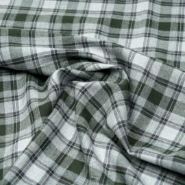 Tissu Flanelle de coton gris à carreaux vert cypress x 10cm