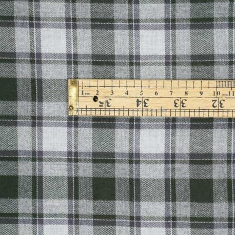 Tissu Flanelle de coton gris à carreaux vert cypress -pretty mercerie - mercerie en ligne