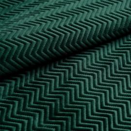 Tissu matelassé velours vert sycamore motif chevron x 10cm