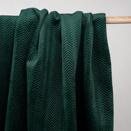 Tissu matelassé velours vert sycamore motif chevron  - pretty mercerie - mercerie en ligne