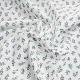 Tissu coton blanc à motif branche de sauge X 10 CM