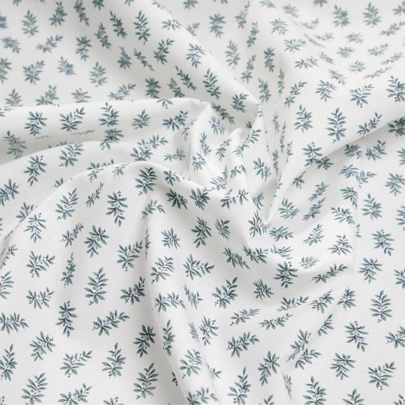Tissu coton blanc à motif branche de sauge - pretty mercerie - mercerie en ligne