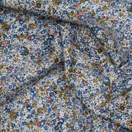 Tissu coton blanc à motif fleuri bleu denim caramel vert et corail X 10 CM
