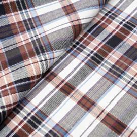 Tissu coton blanc à motif tartan chutney bleu noir et lurex argent x 10cm