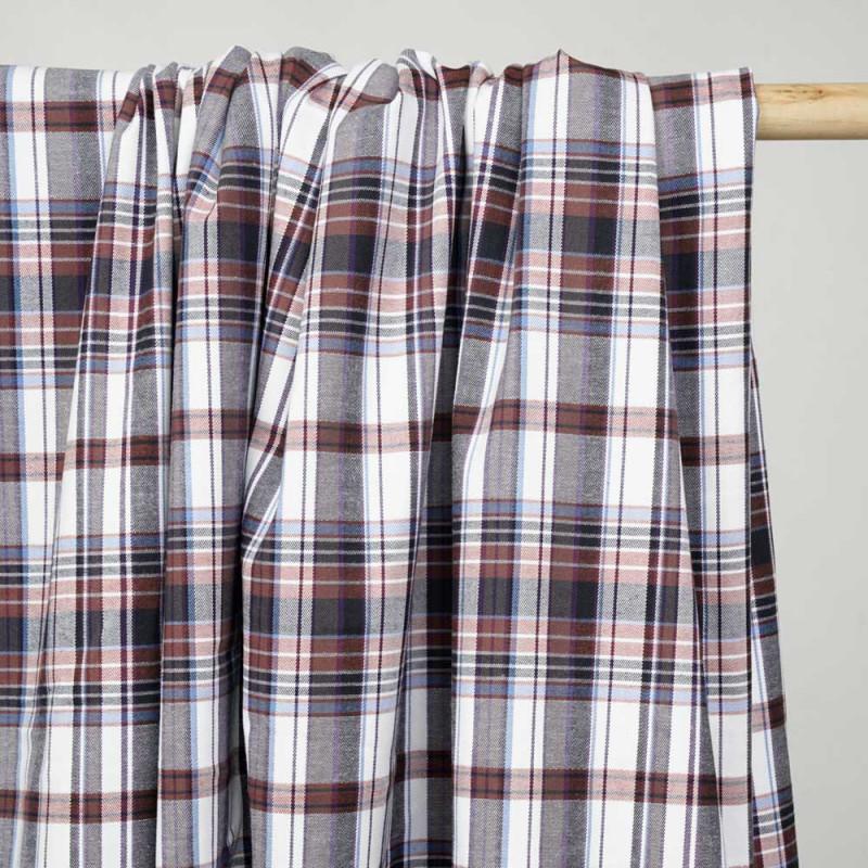 Tissu coton blanc à motif tartan chutney bleu noir et lurex argent - pretty mercerie - mercerie en ligne