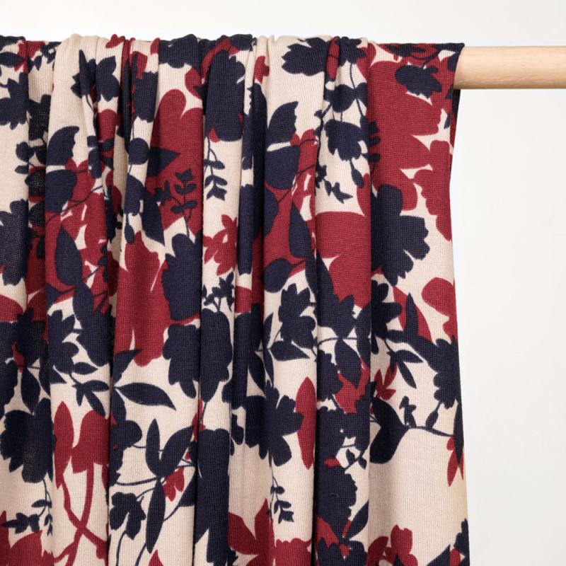 Tissu jersey écru motif bouquet fleuri bleu marine et lie de vin  - pretty mercerie - mercerie en ligne