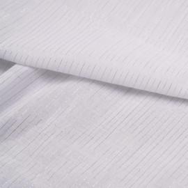 Tissu coton léger blanc à motif rayures or et argent - pretty mercerie - mercerie en ligne