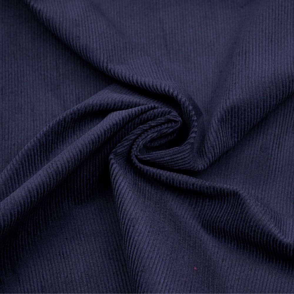 Tissu velours milleraie coton bleu graystone - pretty mercerie - mercerie en ligne
