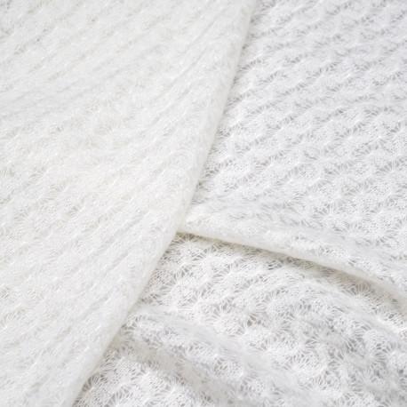 Tissu maille blanc cassé à motif ajouré - pretty mercerie - mercerie en ligne