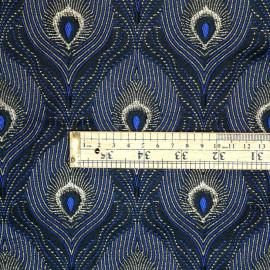 Tissu jacquard queue de paon bleu noir et lurex or - pretty mercerie - mercerie en ligne