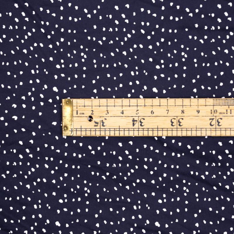 Tissu coton bleu nuit à motif tacheté blanc - pretty mercerie - mercerie en ligne