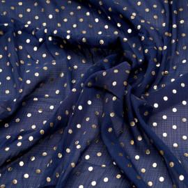 Tissu mousseline bleu patriote à motif pois dorés x 10cm