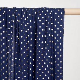 Tissu mousseline bleu patriote à motif pois dorés - Pretty mercerie - mercerie en ligne