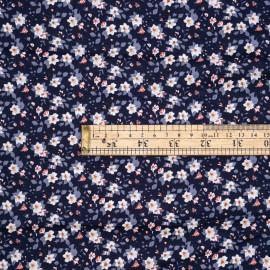Tissu viscose bleu estate à motif fleuri blanc ocre et nectarine - pretty mercerie - mercerie en ligne