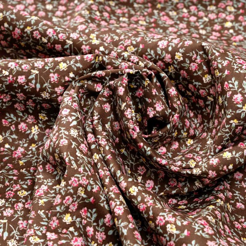 Tissu coton toffee à motif fleuri vert rose et jaune - pretty mercerie - mercerie en ligne