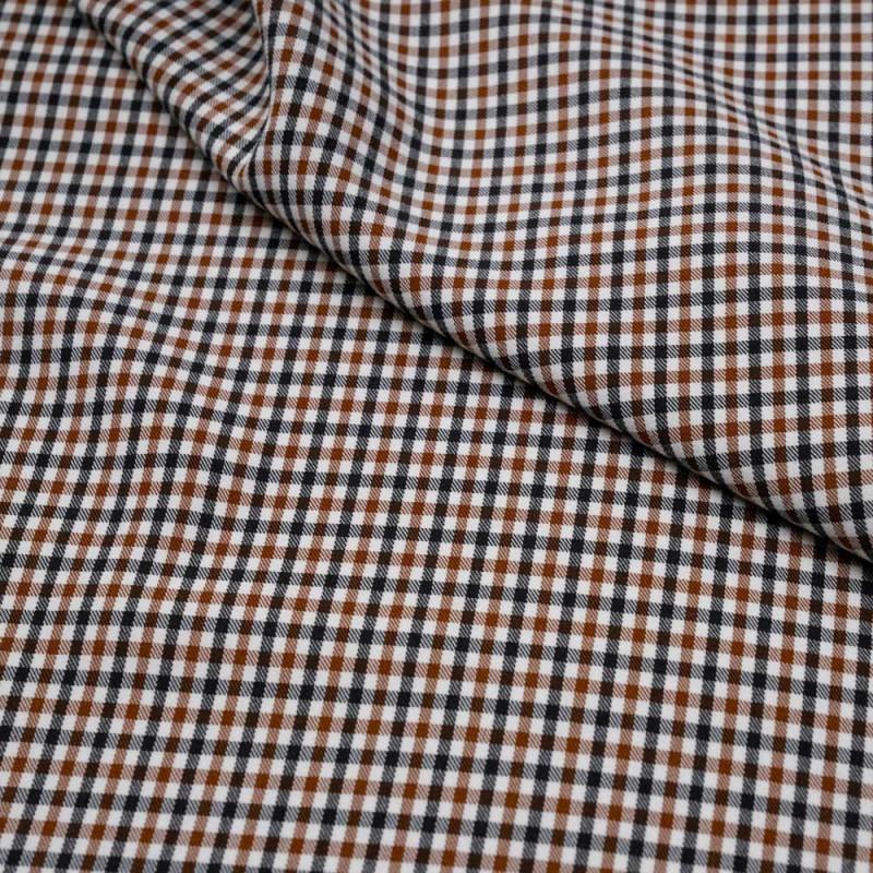 Tissu blanc cassé à carreaux noisette et anthracite - pretty mercerie - mercerie en ligne