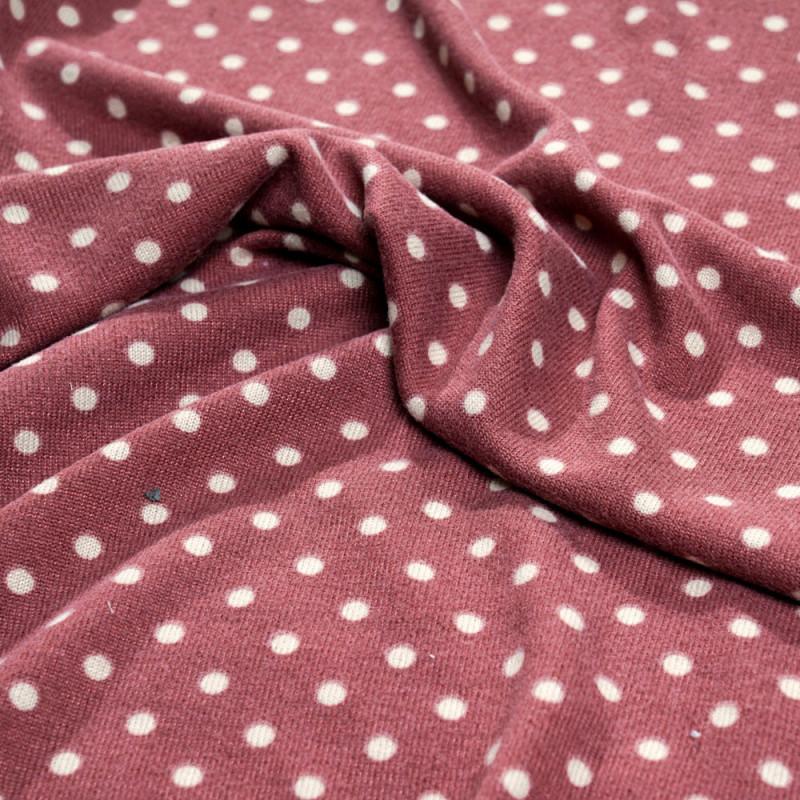 Tissu jersey rose vieilli à motif pois blanc cassé - pretty mercerie - mercerie en ligne