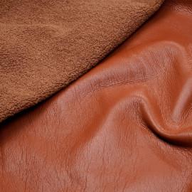 Tissu simili cuir terre d'argile et fourrure effet mouton x 10cm