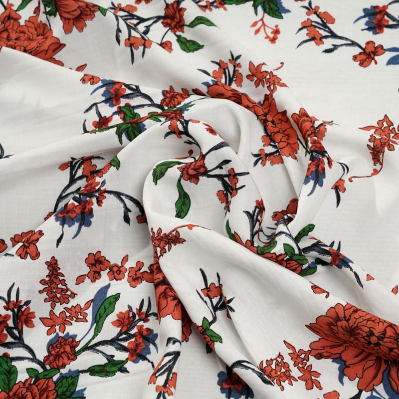 Tissu viscose blanc cassé à motif fleuri ginger bleu et vert - pretty mercerie - mercerie en ligne