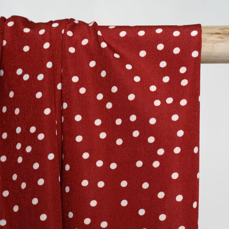 Tissu rouge de pompei à pois blanc - pretty mercerie - mercerie en ligne