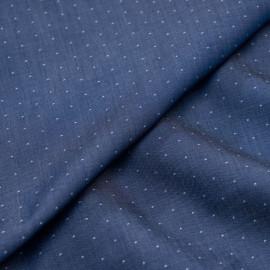 Tissu coton effet denim bleu à mini motif blanc x 10cm