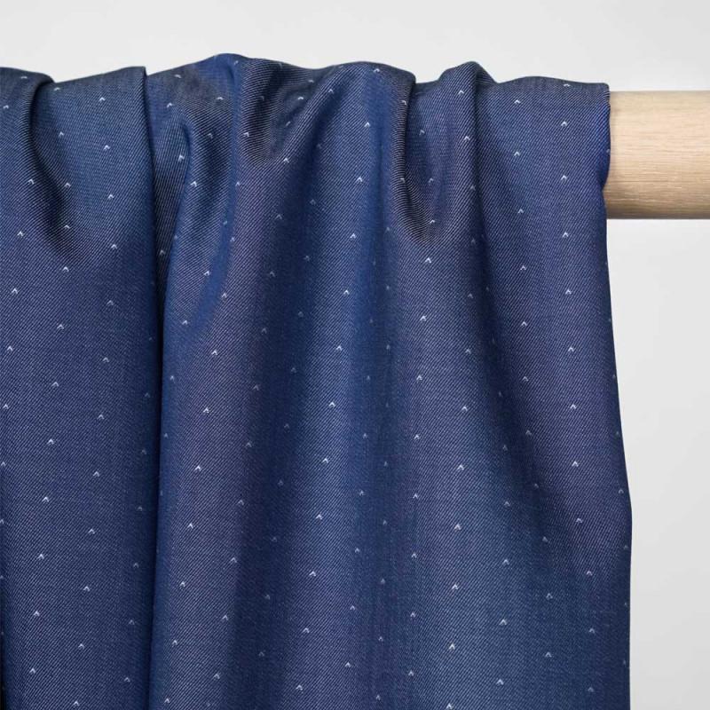 Tissu coton effet denim bleu à mini motif blanc - Pretty mercerie - mercerie en ligne