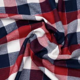 Tissu Flanelle de coton à carreaux et chevrons bleu rouge blanc cassé et fil argent x 10cm