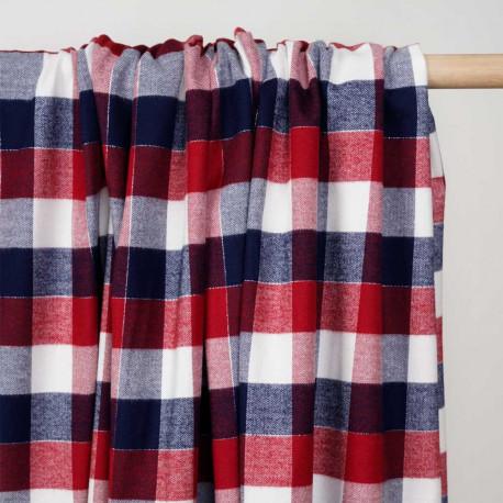 Tissu Flanelle de coton à carreaux et chevrons bleu rouge blanc cassé et fil argent - pretty mercerie - mercerie en ligne