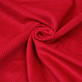 Tissu velours côtelé coton rouge scarlet x 10 cm