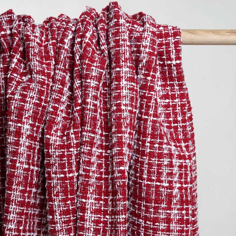 Tissu tweed rouge tango et blanc et lurex transparent - pretty mercerie - mercerie en ligne