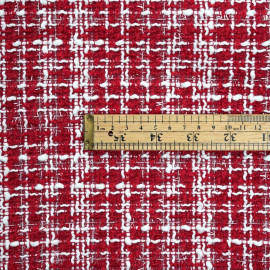 Tissu tweed rouge tango et blanc et lurex transparent - pretty mercerie - mercerie en ligne