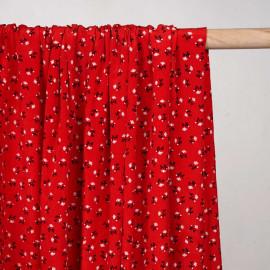 Tissu rouge poppy effet froissé à motif fleuri noir et beige - Pretty mercerie - mercerie en ligne