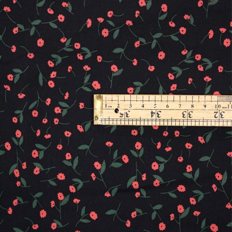 Tissu viscose noir à motif fleuri rouge et vert - pretty mercerie - mercerie en ligne