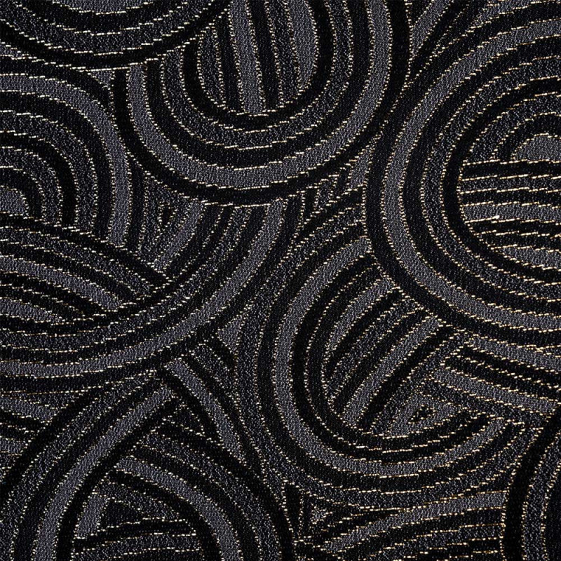 Tissu jacquard gris entrelacs noir et or -pretty mercerie - mercerie en ligne