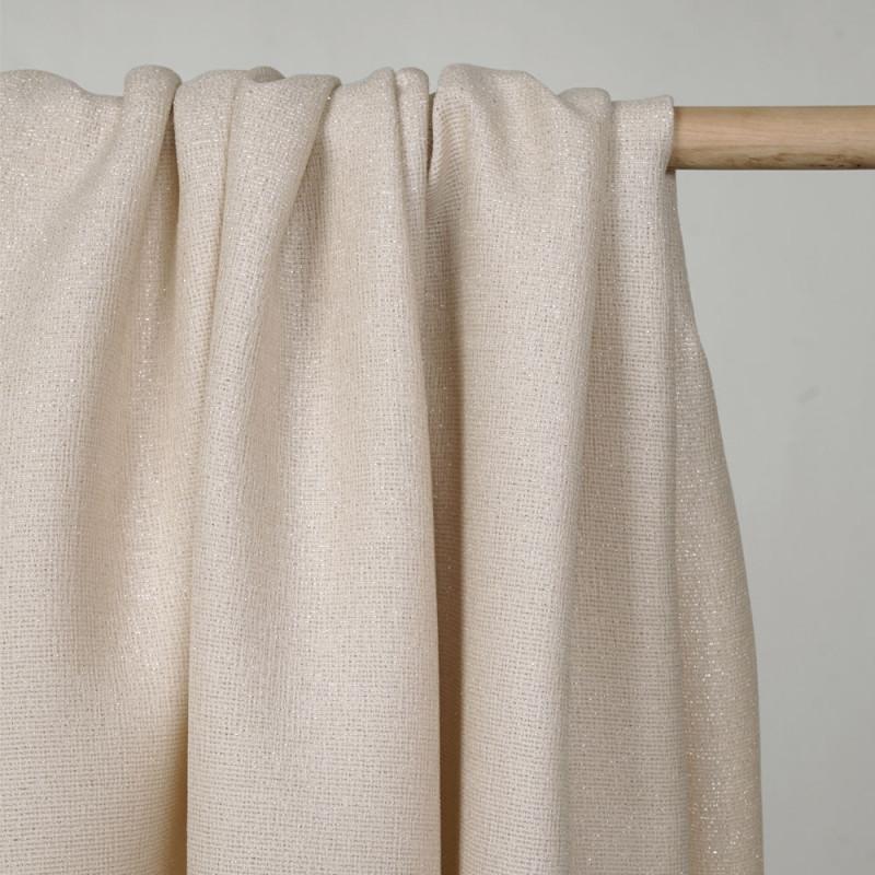 tissu lainage léger tapioca et fil d'or - Pretty mercerie - mercerie en ligne