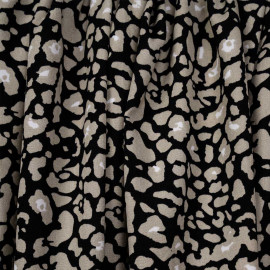 Tissu noir à motif léopard beige et blanc - pretty mercerie - mercerie en ligne