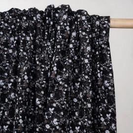 Tissu coton noir à motif fleuri gris et taupe  - pretty mercerie - mercerie en ligne