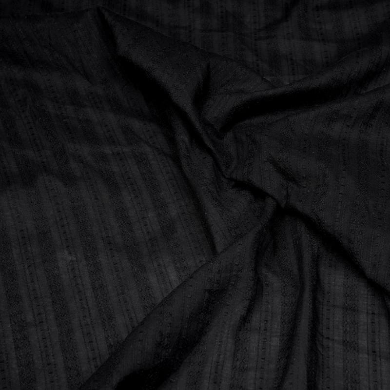 Tissu coton noir à motif rayures brodées - pretty mercerie - mercerie en ligne