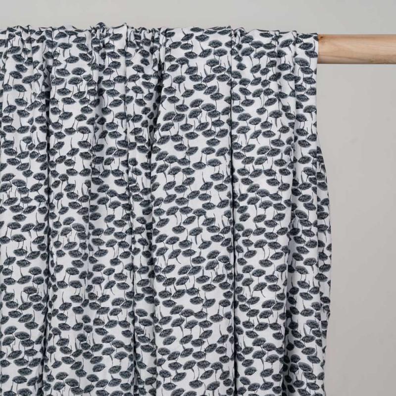 Tissu viscose blanc à motif dandelion gris et noir - pretty mercerie - mercerie en ligne