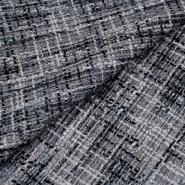 Tissu tweed noir, blanc, gris et fil or x 10 CM