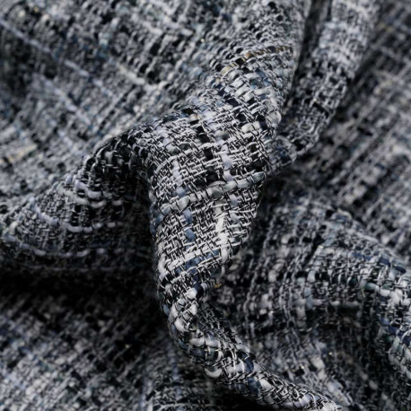 Tissu tweed noir, blanc, gris et fil or  - pretty mercerie - mercerie en ligne