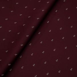 Tissu coton sergé bordeaux à motif ancres blanches x 10cm