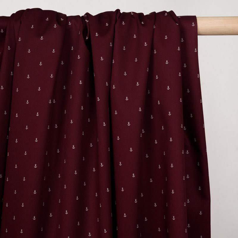 Tissu coton sergé bordeaux à motif ancres blanches - pretty mercerie - mercerie en ligne