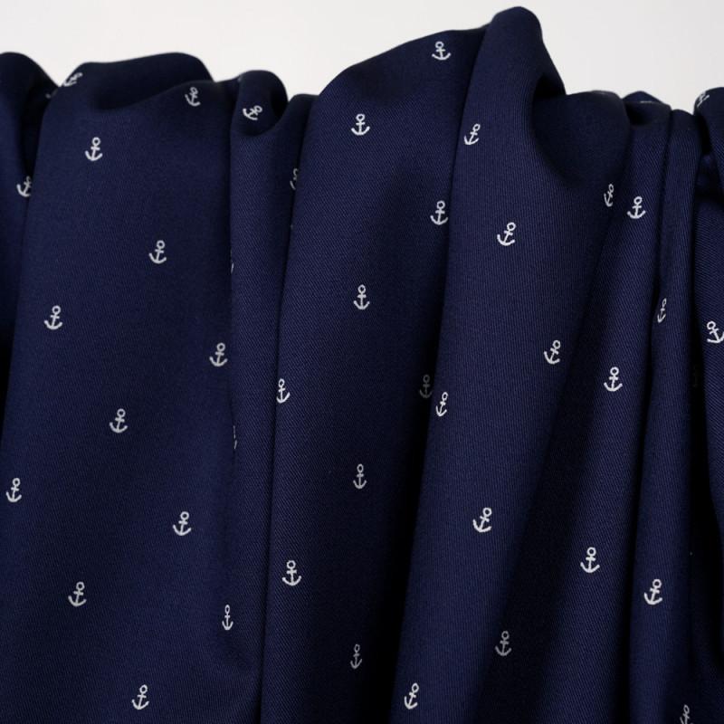 Tissu coton sergé  bleu marine à motif ancres blanches - pretty mercerie - mercerie en ligne