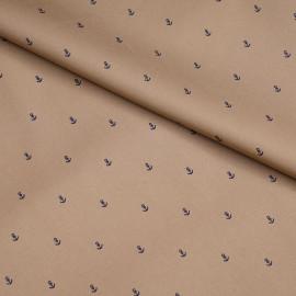 Tissu coton sergé camel à motif ancres bleu x 10cm