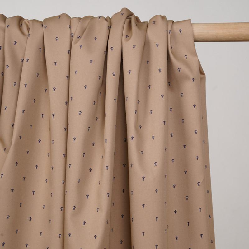 Tissu coton sergé camel à motif ancres bleu - pretty mercerie - mercerie en ligne