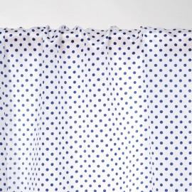 Tissu soie blanc à pois bleu - Pretty mercerie - mercerie en ligne