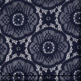 Tissu dentelle bleu éclipse motif romantic flower - pretty mercerie - mercerie en ligne